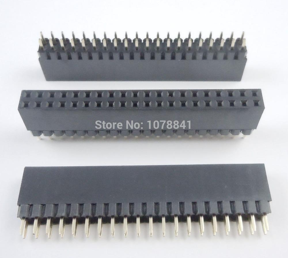 40 Pcs Per Lot 2.54mm 2x20 Pin Female Double Row Straight Header Strip PH: 11mm PC104<br><br>Aliexpress