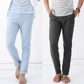 2013 summer linen pants loose casual pants trousers black casual pants male trousers
