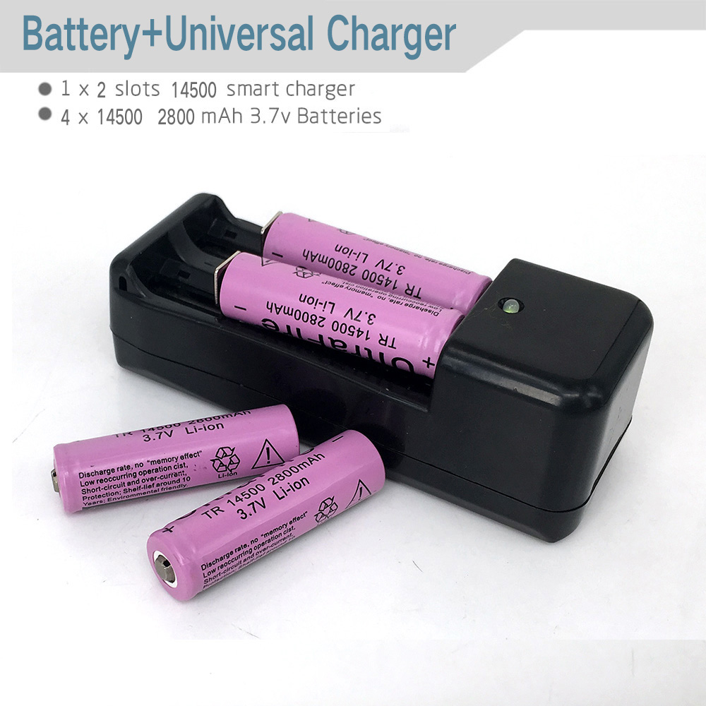 1pc EU/US 3.7V 18650 14500 16430 Battery Charger For Rechargeable Batteries 100-240 V/47-63 HZ including 4pcs 14500 2800 Battery(China (Mainland))