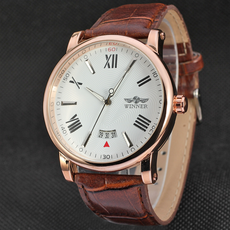 New Reloj Hombre WINNER Watches Classic Mens AUTO Date Automatic Mechanical Watch Self-Winding Analog Brown Leather Man Watch(China (Mainland))