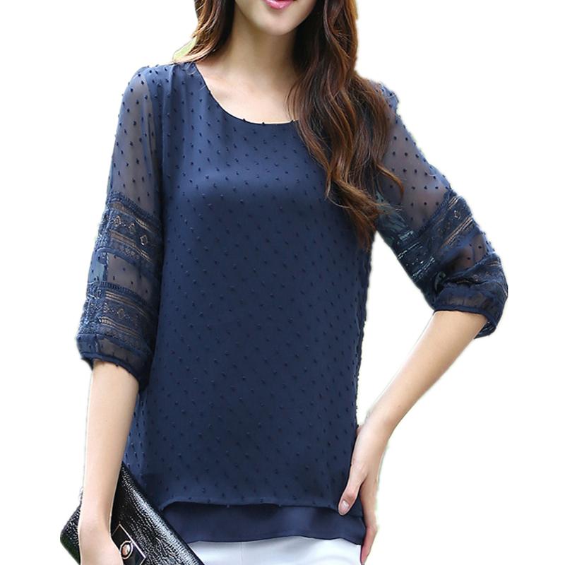 Korea style sheer blouses half sleeve blusas chiffon for Denim half sleeve shirt
