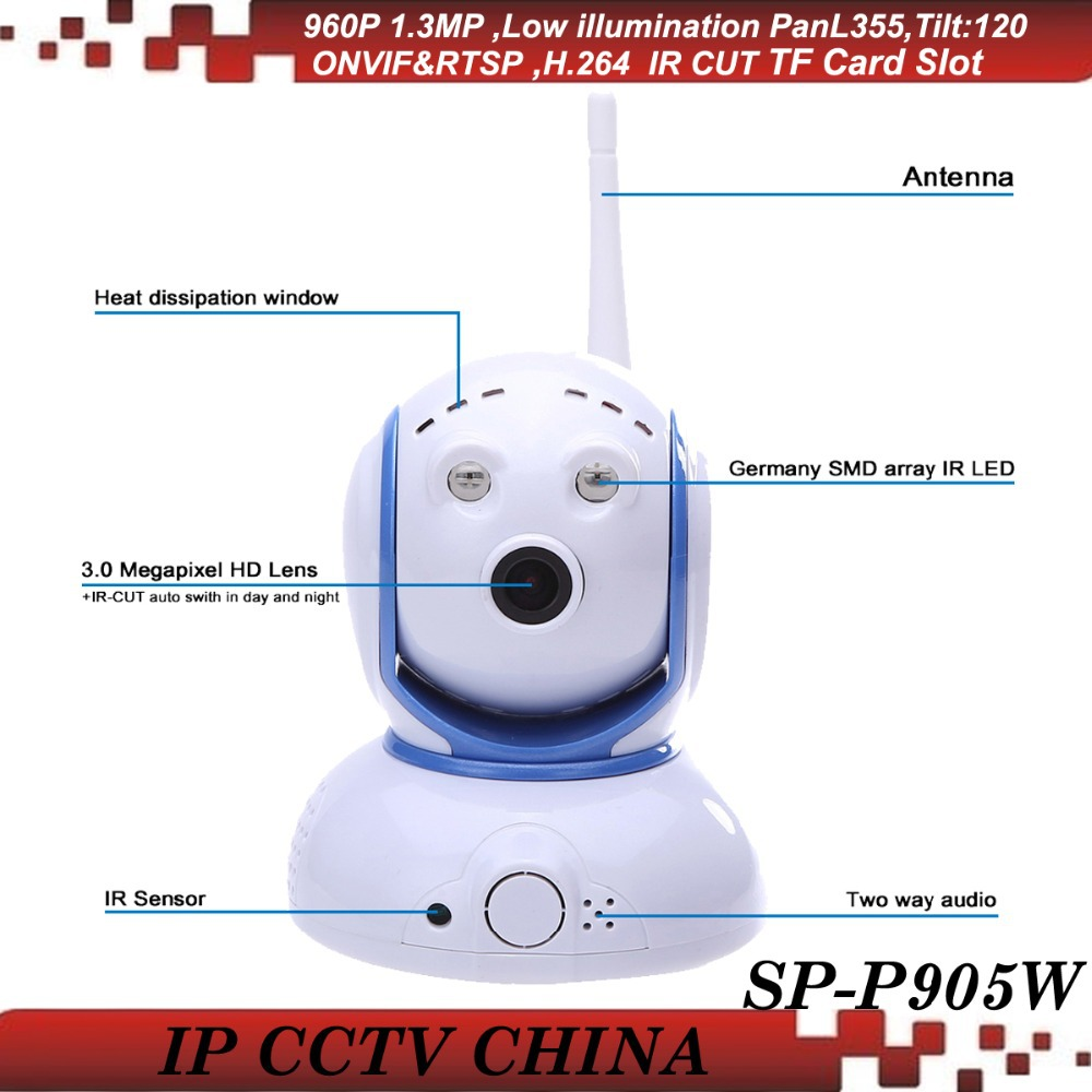 SunEyes SP-P905W Mini Robot Pan Tilt Wireless IP Camera 960P 1.3MP HD Low Lux with Micro SD Slot and Two Way Audio ONVIF RTSP(China (Mainland))