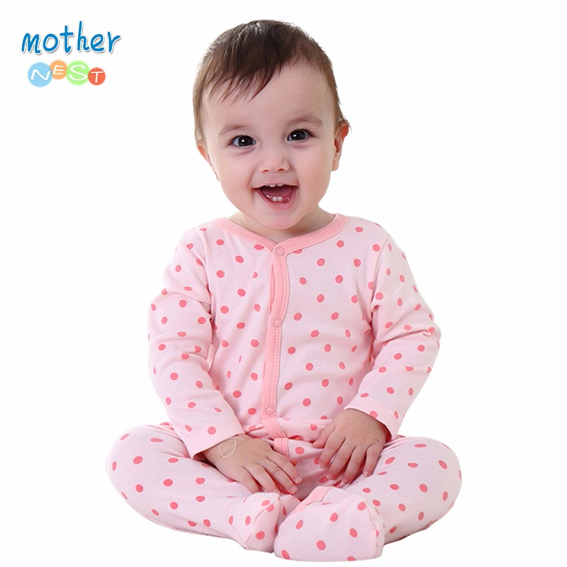 Mother Nest Newly 2016 Long Sleeve Baby Clothing Baby Boy Girl Wear Pink Polka Dot Newborn Baby Overall Clothes Baby Rompers