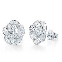Fashion Jewlery Silver Earrings Classic Rose Stud Earrings For Women E366(China (Mainland))