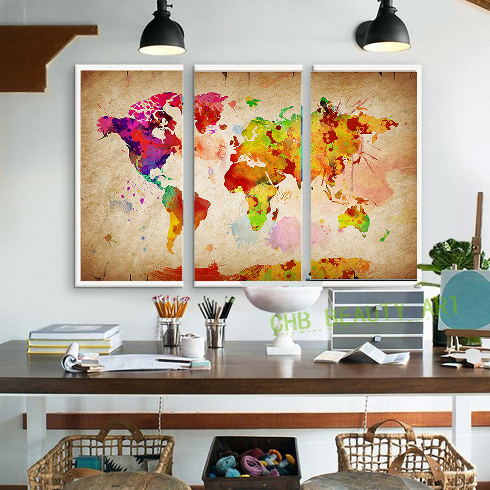 3 pieces canvas wall art canvas painting world watercolor