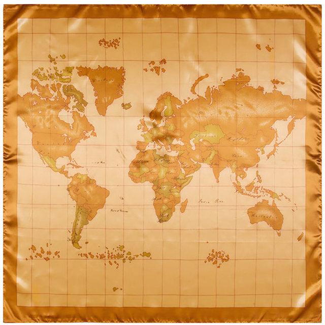 90 см * 90 см новинка дизайн карта мира печатных шарф женщин новый платок большие квадратные шарфы