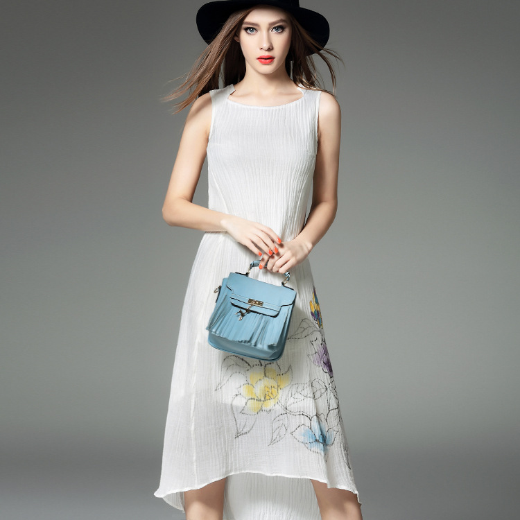 new spring and summer dress female European high-end hand-painted wrinkled cotton vest dress  beach 48059Одежда и ак�е��уары<br><br><br>Aliexpress
