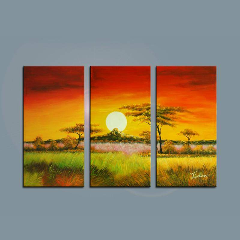 Unframed 3 Panels High Quality Beautiful Landscape Sunset Wall Art Picture 100% Handmade Oil Painting on Canvas Decoration(China (Mainland))