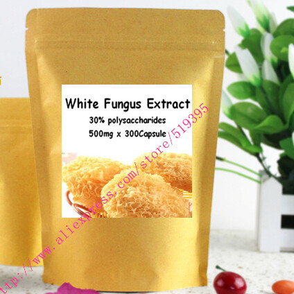 1 pack natural White Fungus Extract 30% polysaccharides  caps 500mg x 300pcs vcaps free shipping<br><br>Aliexpress