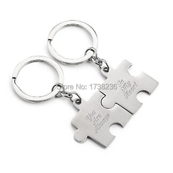 Puzzle Pieces Style You Are Always In My Heart Couples Lovers Keychain Anniversary Gift(China (Mainland))