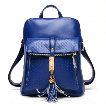 2015 New Fashion Genuine Leather Travel Shoulder Backpack Famoud Designers Brand Tassel School Backpack for Female 5colors LY049(China (Mainland))