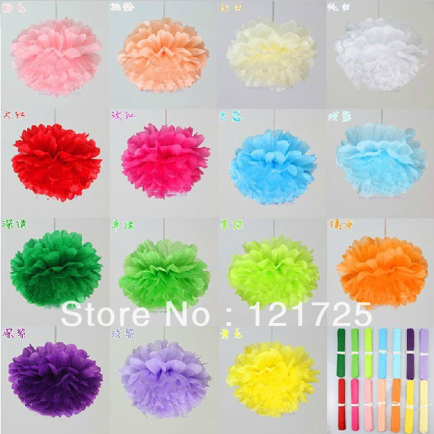 """Free Shipping 10pcs 6""""(15cm) Tissue Paper artificial flowers Pom 15 color Wedding Birthday Party Decor Craft festival decoration(China (Mainland))"""