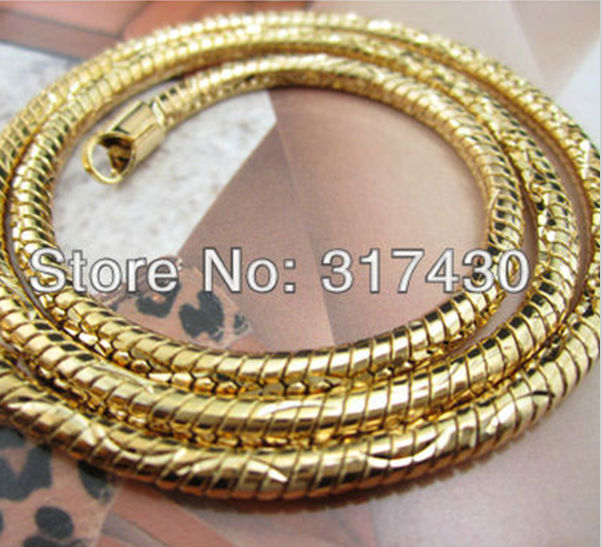 Wholesale Lowest Price 18k Yellow Gold Layered Rounded snake bone Necklace Chain 4mm, 50cm mens womens Jewelry Free Shipping New(China (Mainland))