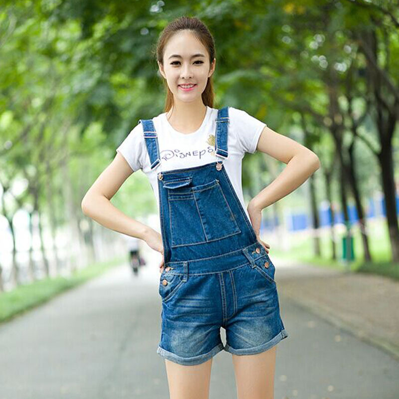 2015 New Arrive 100% Cotton Mid Waist Summer Denim Overalls Women Super Quality Brand Blue Shorts Loose Bib jeans Pants 5815 - Hello madam store