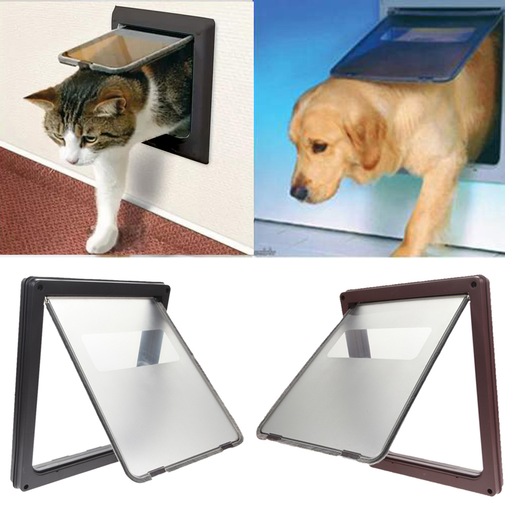 Brand New 17.3'' Large Pet Cat Puppy Dog Flap Door Gate Lock Lockable Safe Pet Doors for large dogs Free Shipping(China (Mainland))