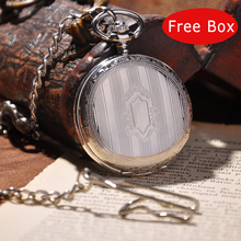 Silver Shield Full Hunter Men Pocket Watch With Chain Necklace Women Fashion Mechanical Hand Winding Pocket Watch Vintage PW28(China (Mainland))