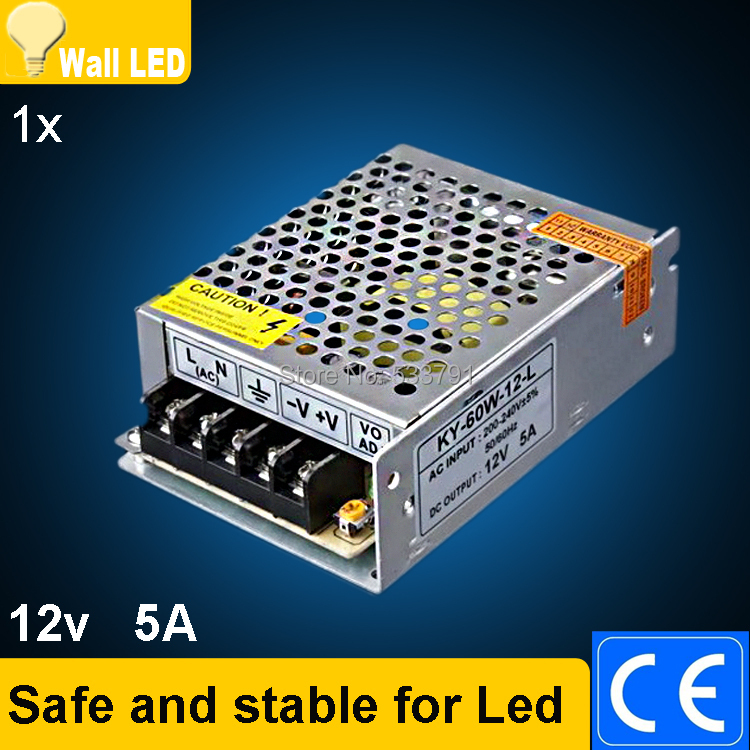 1Pcs 12V 5A 60W 200-240V NEW Switching Switch Power Supply for LED Strip light Lights(China (Mainland))