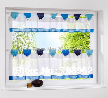 1 Set  New Fashion Stitching Colors Tab Top Kitchen curtains  5 colors