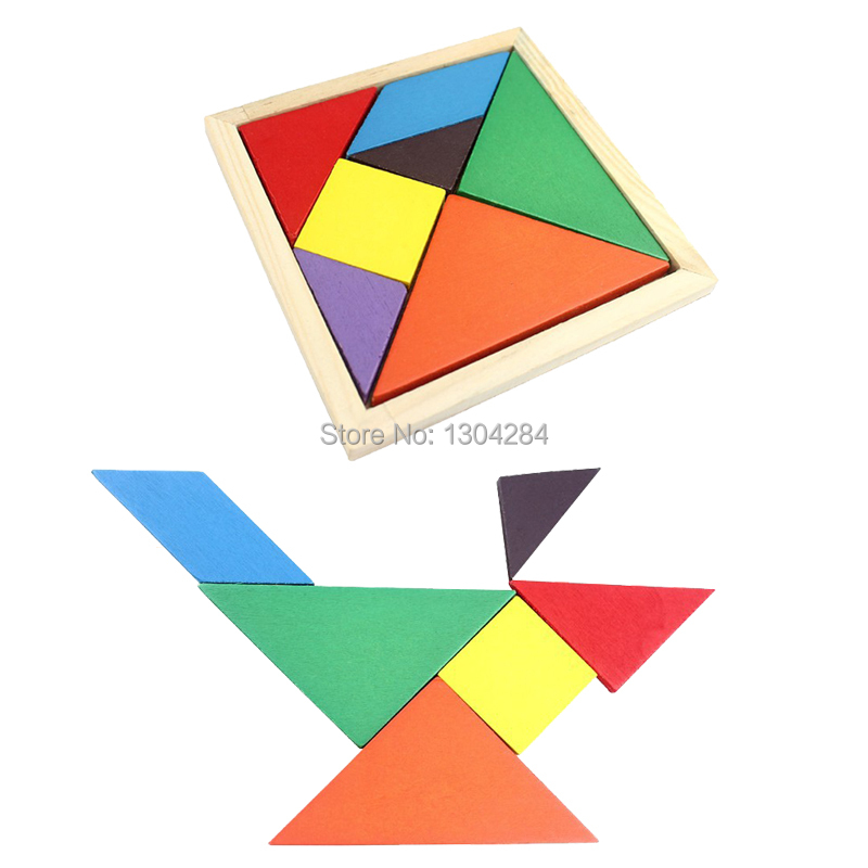 1PC Free Shipping Wooden tangram 7 piece puzzle square IQ game Brain teaser Intelligent Toy FZ1693 7Ji(China (Mainland))