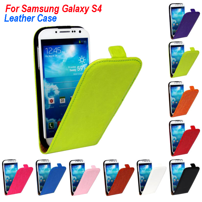 Top Quality Leather Wallet Flip Phone Case Covers For Samsung Galaxy S4 Cover phone bags cases 10 Colors(China (Mainland))