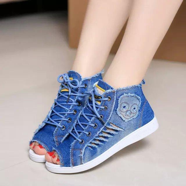 Fashion brand high quality women fish head denim lace high for Fish head shoes
