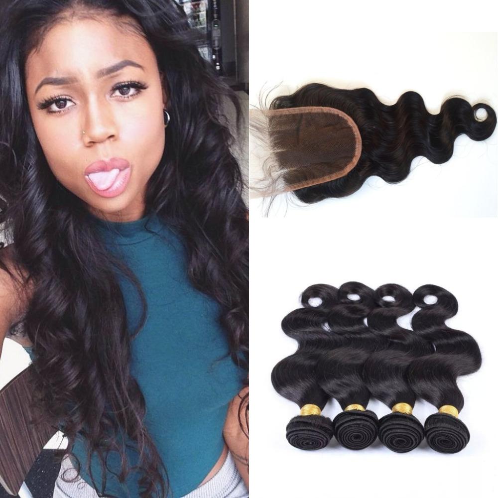 Mongolian Hair Body Wave 4 Bundles With Closure 4x4 Hand Tied Lace Closure Natural Black Human Hair Closure<br><br>Aliexpress