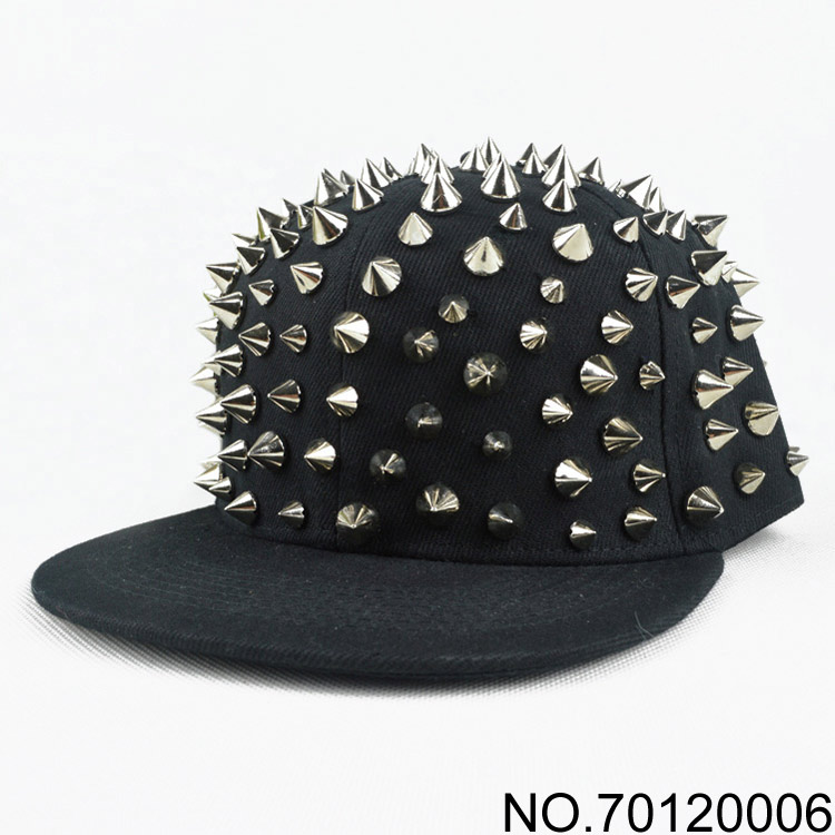 2013 new fashion hip-hop hiphop rivets and studs spike caps flat brim hats baseball cap handmade sewing rivet punk hat 130702(China (Mainland))