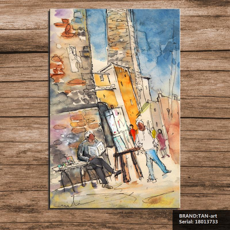 San Gimignano In Italy Painting Figure Painting Abstract Spray Unframed Canvas Frameless Drawing art 18013733(China (Mainland))