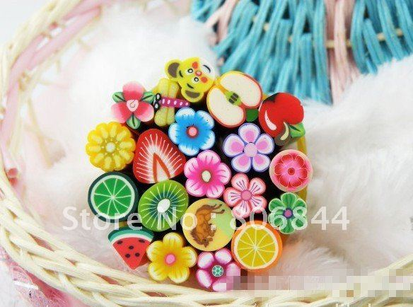 50pcs Nail Stickers Polymer Clay Stickers 3D Fruit And Flower Rolls Stamp Decal Tip Cute Printer DIY Nail Decoration   #1914