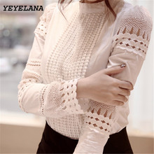 Buy YEYELANA Women Blouses 2017 Spring Summer Long Sleeve Shirt Women White Lace Blouse Camisas Femininas Woman Tops Clothes A002 for $9.60 in AliExpress store