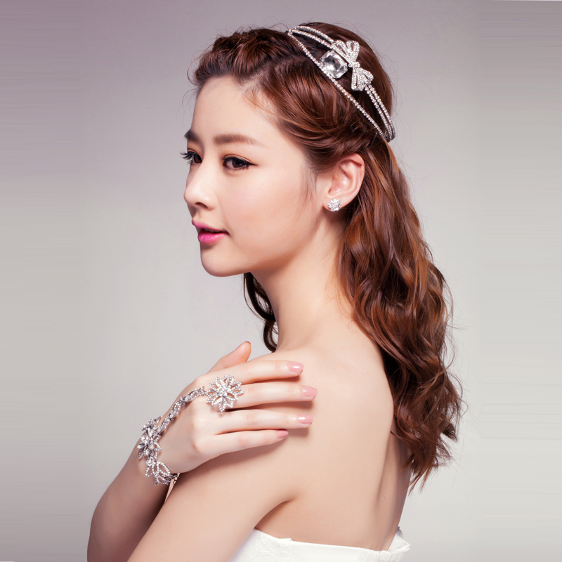 2014 Luxurious Bow Rhinestone Bridal Wedding Tiara Full Circle Round Crown Headwear Pageant Party Queen Princess Beauty Crown(China (Mainland))