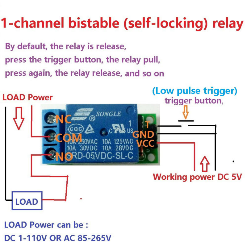 IO25A01 5V Flip-Flop Latch Relay Module Bistable Self-locking Switch Low pulse trigger Board for Arduino Smart home LED Mot(China (Mainland))