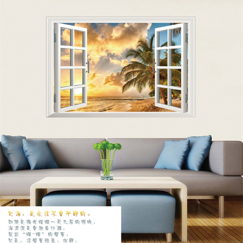 2017 Out of the window Landscape Scenic Sky Sea Beach The Living Room Bedroom Background Wall Decorative Wall Stickers Home(China (Mainland))