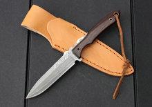 Nuevo llegamos alta calidad OEM del acero de damasco straight supervivencia que acampa cuchillos de hoja fija del cuchillo de caza herramienta mano mejor regalo edc