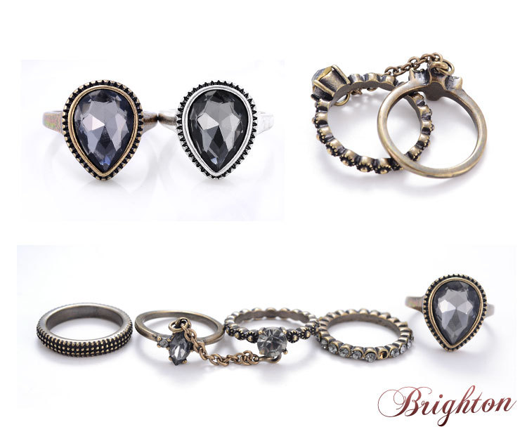 5 Pcs/Set Cheap Punk Style Crystal 18K Ancient Gold Silver Plated Party Jewelery Set Of Rings Women Little Girl Gift New Ring (China (Mainland))