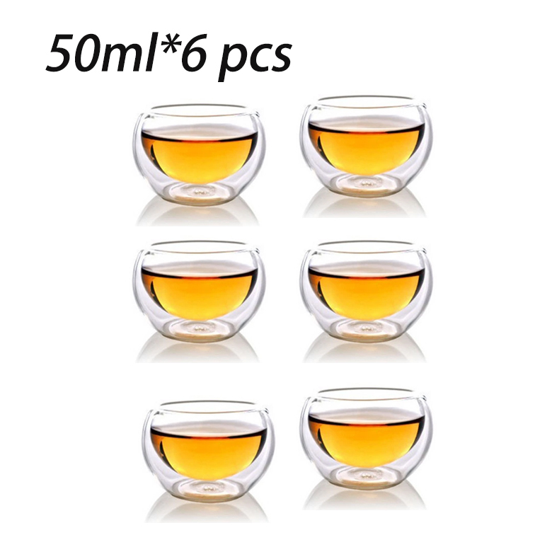 Set of 6pcs double wall heat resistant glass tea cups for tea/coffee Cups&saucers in different volumes(China (Mainland))