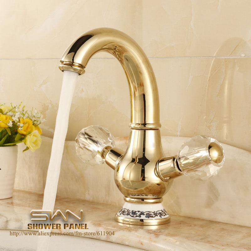 Bathroom Faucets Gold : Gold Color Brass Bathroom Faucet Lavatory Vessel Sink Basin Faucets ...
