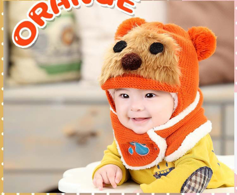 Hot Sale Brand Baby Animal Hat Hooded Scarf Earflap Knit Cap Toddler Boy Girl Unisex Autumn Winter Warm Beanie Cute Hat XL667