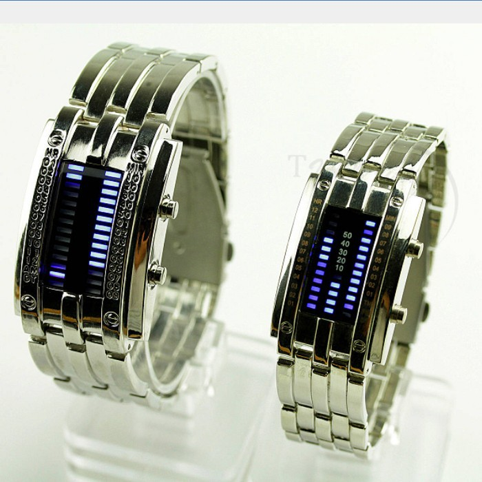 Luxury Lovers' Wristwatch Waterproof Men Women Stainless Steel Blue Binary Luminous LED Electronic Display Sport Watches Fashion - Di Da store