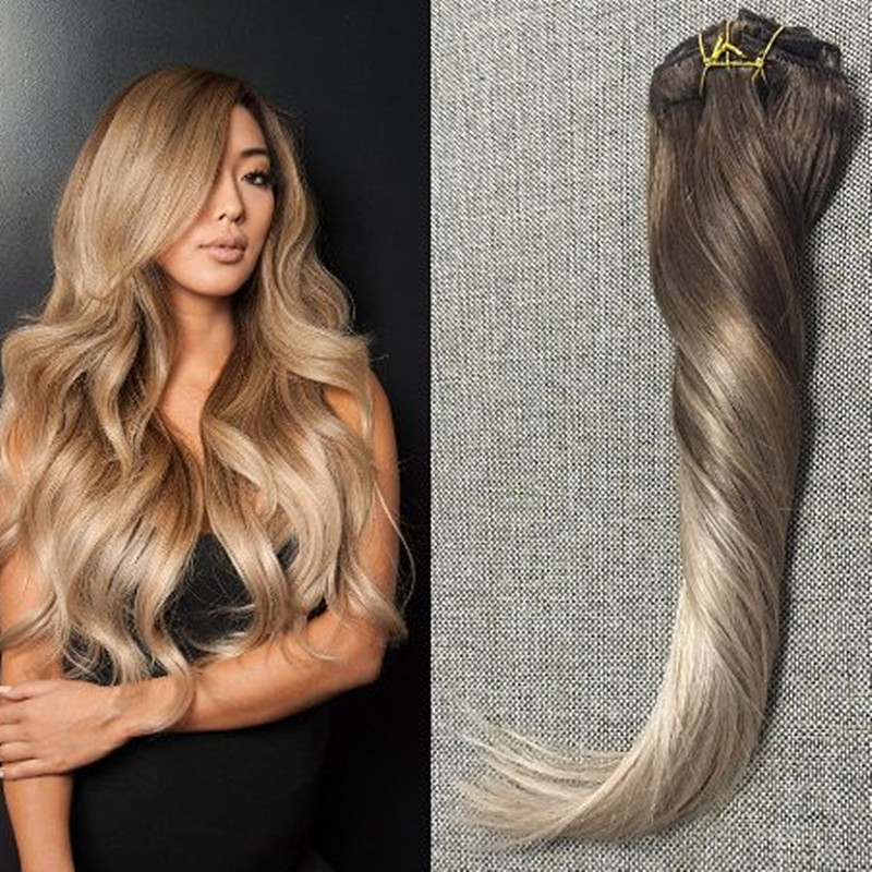 Full Shine Remy Clip in Hair Extensions Human Hair Ombre Balayage Virgin Hair Clip Extensions Color #4 #18 Ash Blonde In Stock