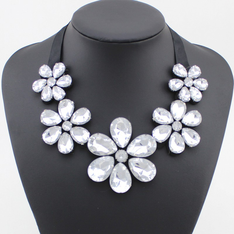Women's False Collar Necklaces Big Acrylic Crystal Flower Choker Black Chain - Top Jewelry Shop store