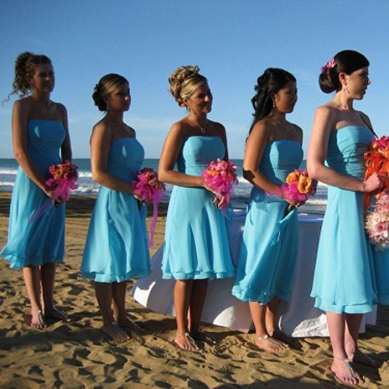 Popular blue beach bridesmaid dresses buy cheap blue beach for Sky blue wedding guest dresses
