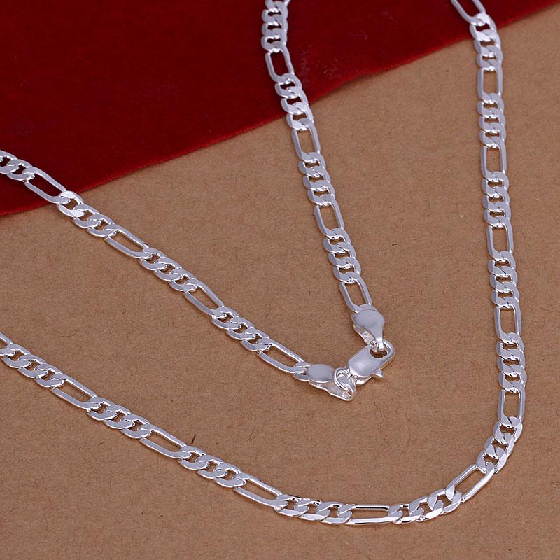 wholesale 2014 New Fashion silver plated Chain 4MM 16 30 Chains Necklaces Pendants For Women Men