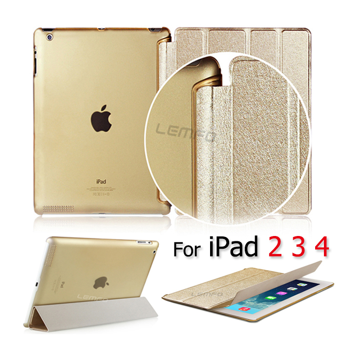 Luxury Ultra Slim Magnetic Brush PU Leather Flip Stand Hard Back Cover Case For Apple iPad 2 3 4 Smart Wake Up/Sleep Function(China (Mainland))