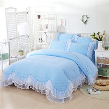 2016 New Popular Solid Color Reactive Printing Sweet Princess Cotton Bedding Set,Queen King Blue Bed Skirt Set Duvet Cover Set(China (Mainland))