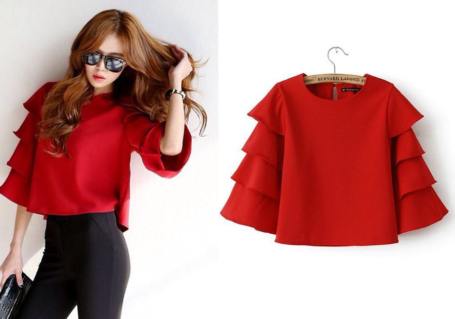 summer dress 2015 fashion blusas shirt women vintage chiffon red blouse full long flare sleeve british style o-neck clothing(China (Mainland))