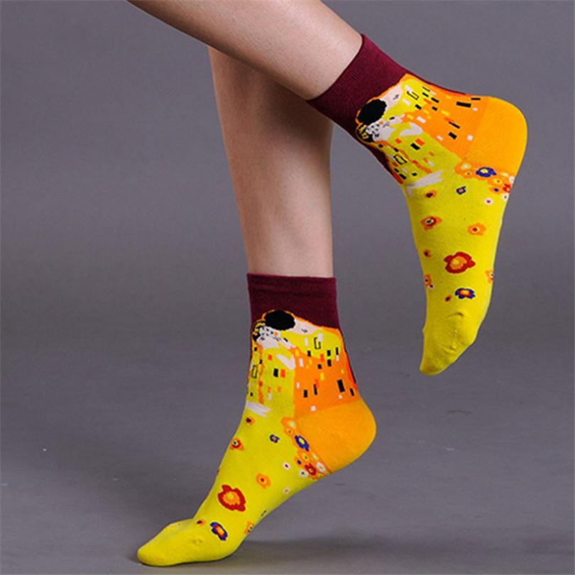 2016 New European Socks Fashion Women Harajuku Style Printing Pure cotton Oil painting classic ...