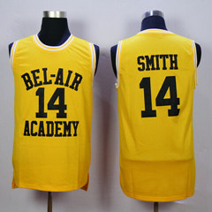 Smith And Banks Basketball Shirt, Will Smith Fresh Prince Jersey Shirts Yellow Black letters and maroon letters Free Shipping(China (Mainland))