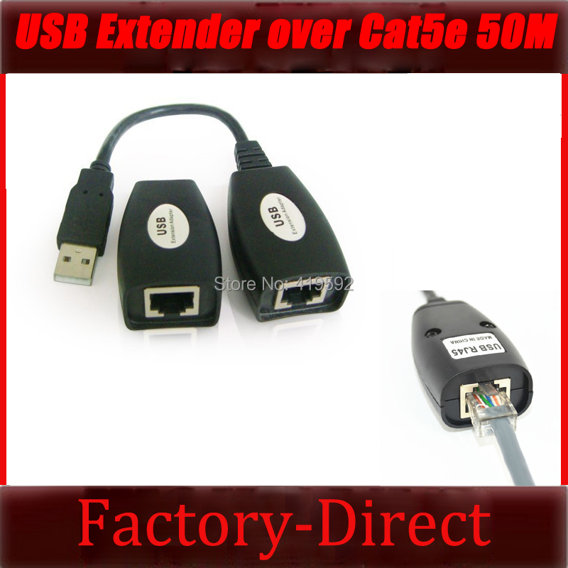 Free shipping 1PCS USB Extender Repeater USB Extension Adapter over Cat5/Cat5e/6 RJ45 Port up to 50M 150ft(China (Mainland))