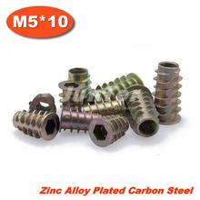 100pcs/lot M5*10 Zinc Alloy Furniture Hex Drive Head Nut Threaded For Wood Insert(China (Mainland))